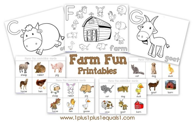 Farm Fun Printables {free} - 1+1+1=1