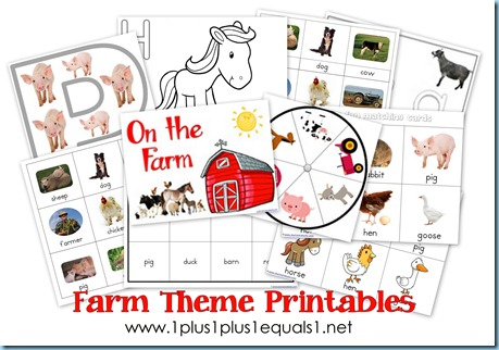 Farm Theme Printables & More - 1+1+1=1