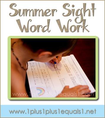 Summer Sight Word Work