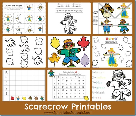 graphic about Scarecrow Printable named Scarecrow Printable Pack - 1+1+1\u003d1