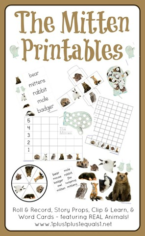 graphic regarding The Mitten Story Printable identify The Mitten Printables - 1+1+1\u003d1