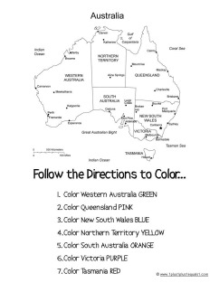 Follow Directions to Color Australia