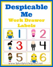 Despicable Me Work Drawer Labels