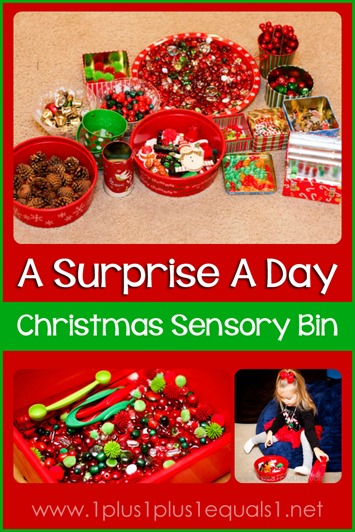 A Surprise a Day Christmas Sensory Bin