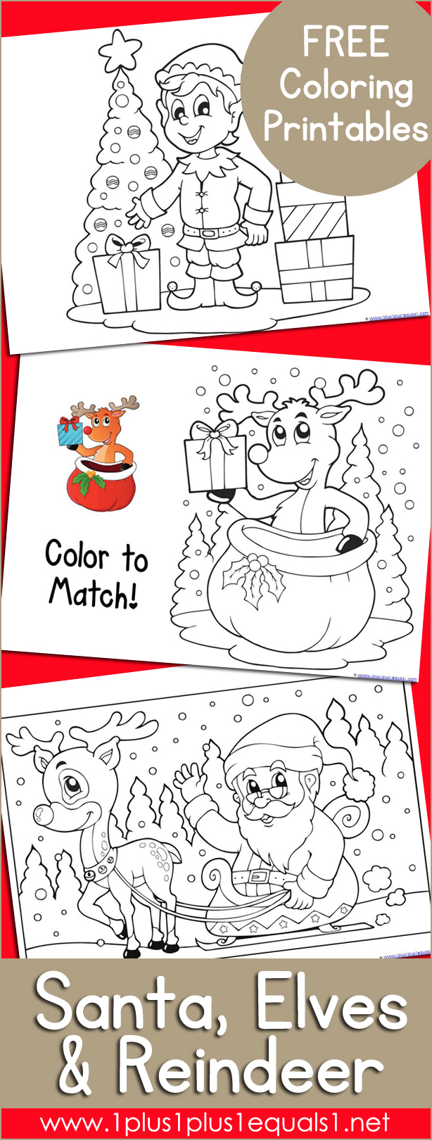 Santa, Elves, and Reindeer Christmas Coloring