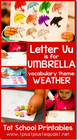 Tot School Printables U is for Umbrella