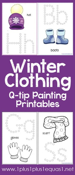 Winter Clothing Q-Tip Painting Printables