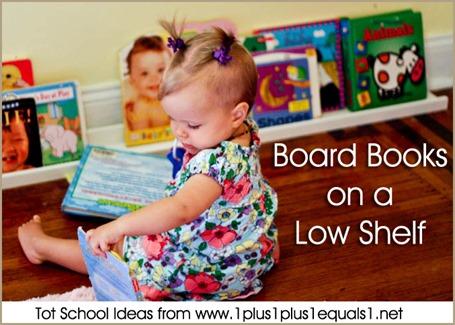Tot School Board Books on a Low Shelf 12-18 Months