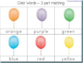 Color Word Balloon 3 Part Cards