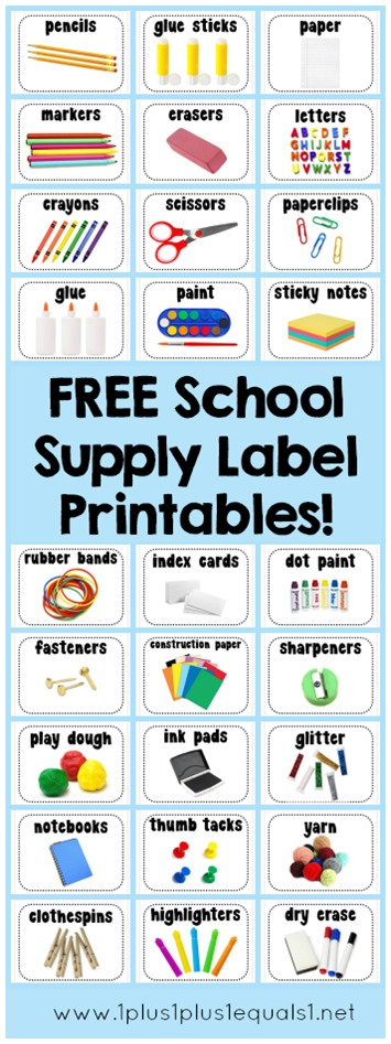 School Supply Label Printables