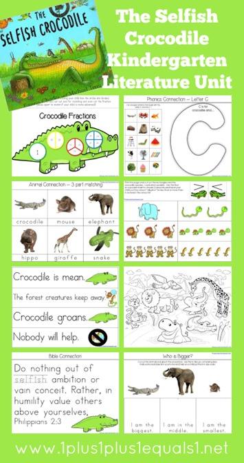 The Selfish Crocodile Kindergarten Literature Unit Printables