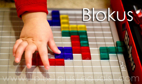 Tot School Ideas 18-24 Months -- Blokus from www.1plus1plus1equals1
