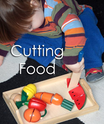 Tot School Ideas 18-24 Months -- Cutting Food from www.1plus1plus1equals1
