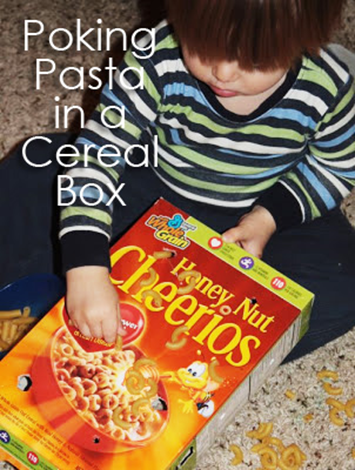 Tot School Ideas 18-24 Months -- Poking Pasta in a Cereal Box from www.1plus1plus1equals1