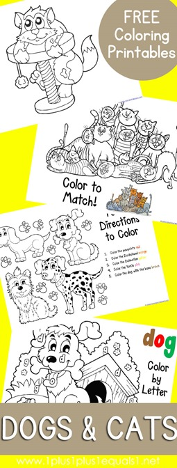 Dogs and Cats Coloring Printables FREE