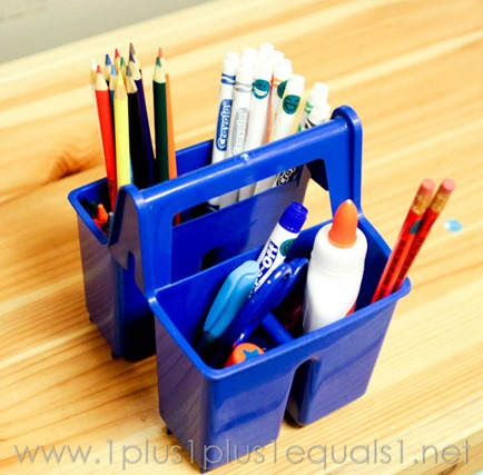 Color Coded School Supply Storage