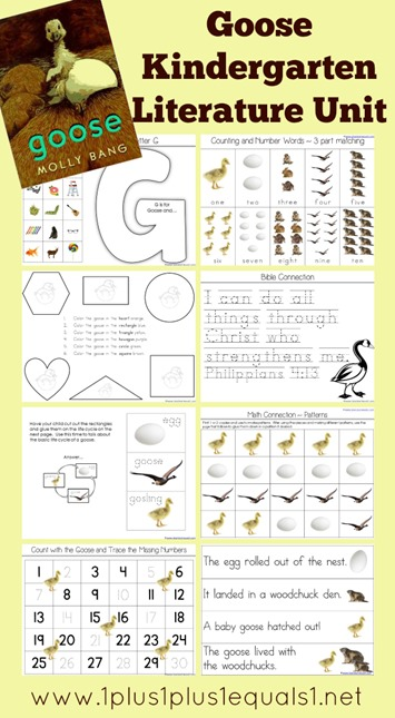 Goose Kindergarten Literature Unit Printables