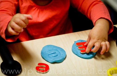 ABC Magnets in Play Dough