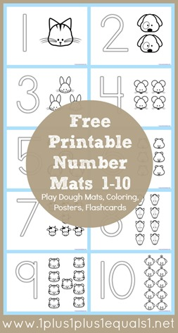 Free Printable Number Mats 1-10