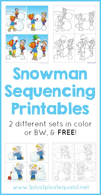 Snowman Sequencing Printables