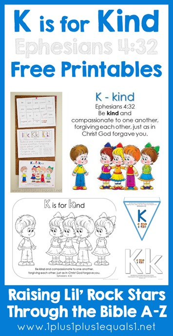 Bible Verse Printables Letter K is for Kind Ephesians 432