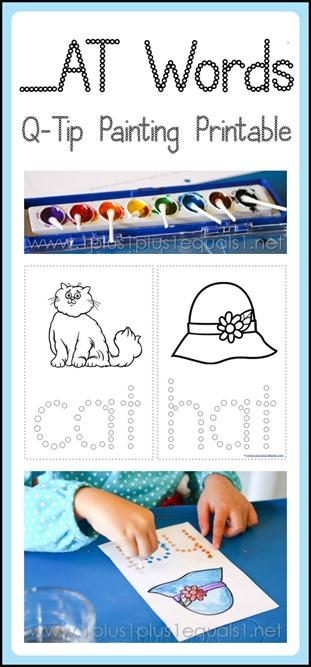 Rhyming Words Q-tip Painting Printable ~ cat, hat, rat, bat