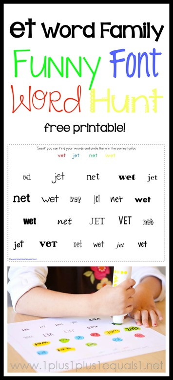 et word family printable funny font word hunt