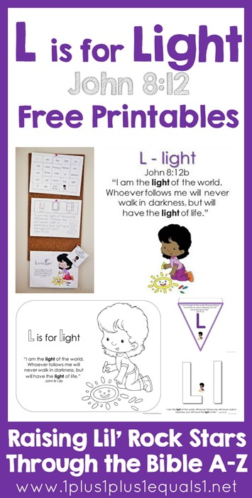 Bible Verse Printables L is for Light John 812