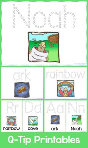 Noah's Ark Q Tip Printables