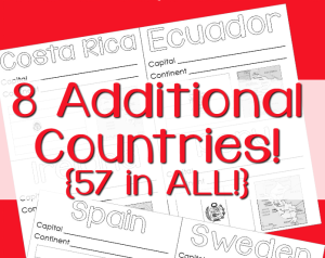 World Geography Country Printables 8 Additional Countries FB