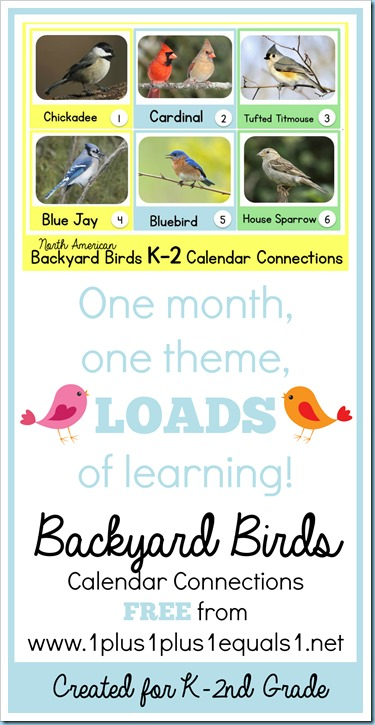 North American Backyard Birds Calendar Connections for K-2nd Grade