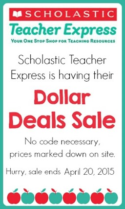 Scholastic Teacher Express Dollar Deals Spring 2015 Sale ends April 20, 2015