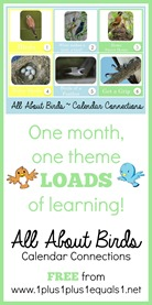 All About Birds Calendar Connections Printables