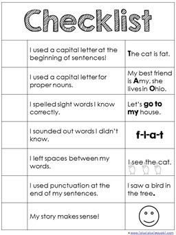 Basic Writing Checklist Printable