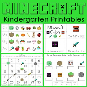 Minecraft Kindergarten Printables Square