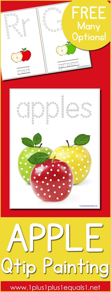 Apple Q tipPainting Printables