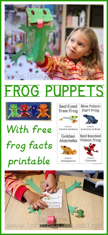 Frog Puppet Craft and Frog Facts Printable