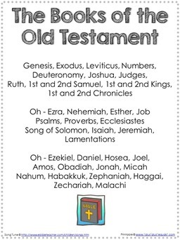Books of the Old Testament Song Printable