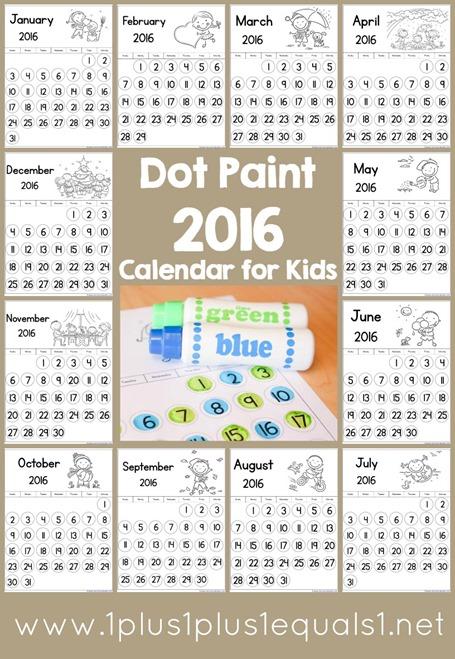 2016 Dot Fun Calendar for Kids