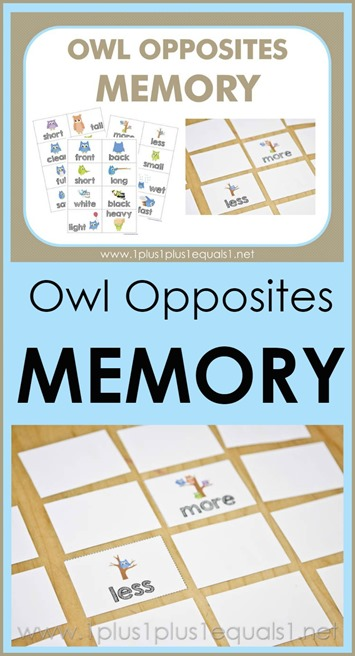 Owl Opposites Memory Game Printables