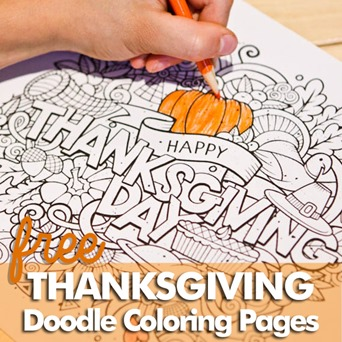 Thanksgiving Doodle Coloring Pages FB