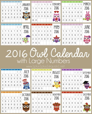 201 Printable Owl Calendar with Large Numbers