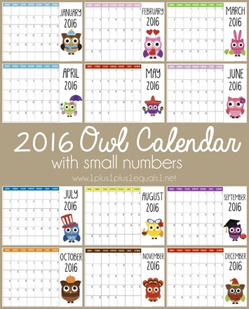 201 Printable Owl Calendar with Small Numbers