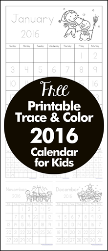 Free Printable Trace and Color 2016 Calendar for Kids