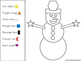 Color by Shape Snowman