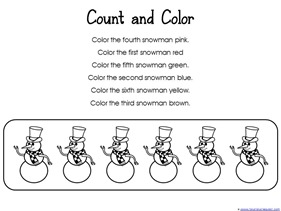 Follow Directions to Color Snowman