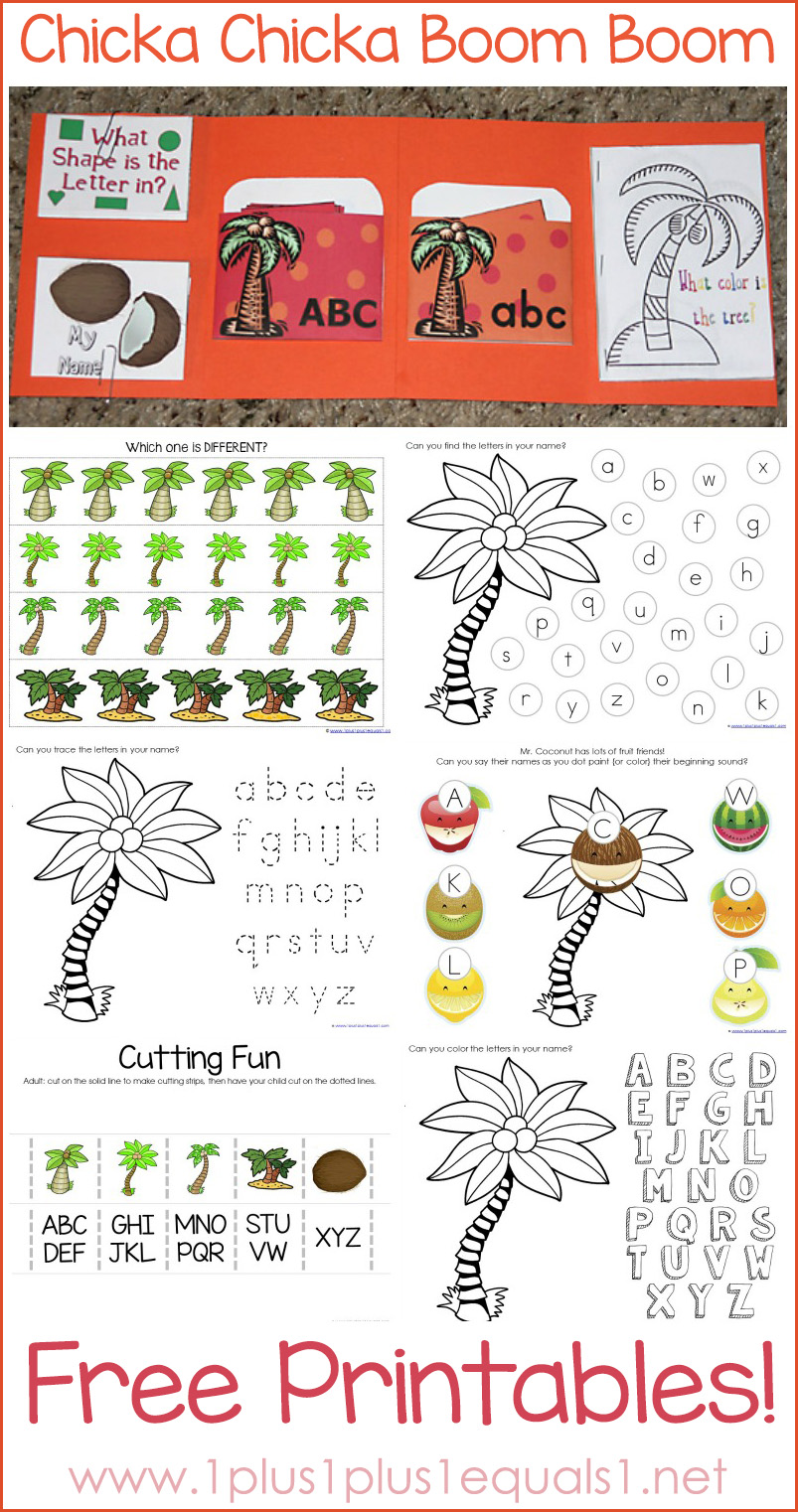 Chicka Chicka Boom Boom Printables for Tot School and Preschool