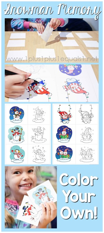 Color Your Own Snowman Memory Game Printables