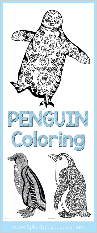 Penguin Doodle Coloring Pages