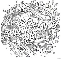 Thanskgiving Doodle Coloring Page